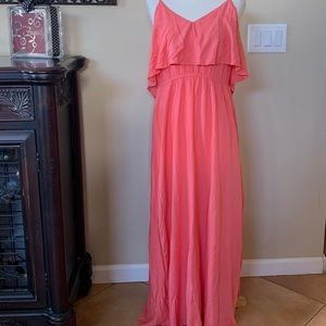Lauren Conrad coral maxi dress, size Large